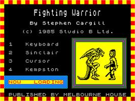 Title screen of Fighting Warrior on the Sinclair ZX Spectrum.