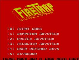 Title screen of FireTrap on the Sinclair ZX Spectrum.