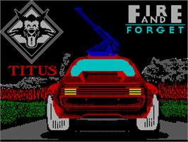 Title screen of Fire and Forget on the Sinclair ZX Spectrum.