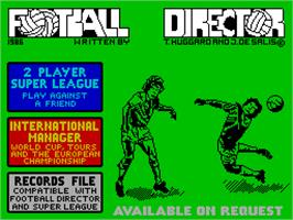 Title screen of Football Director on the Sinclair ZX Spectrum.