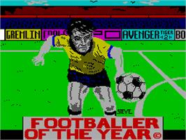 Title screen of Footballer of the Year on the Sinclair ZX Spectrum.