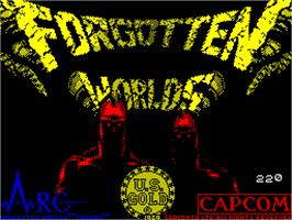 Title screen of Forgotten Worlds on the Sinclair ZX Spectrum.