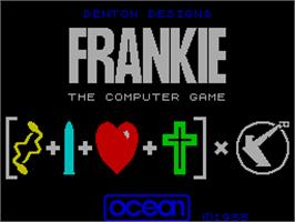 Title screen of Frankie Goes to Hollywood on the Sinclair ZX Spectrum.
