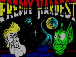 Title screen of Freddy Hardest on the Sinclair ZX Spectrum.