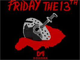 Title screen of Friday the 13th on the Sinclair ZX Spectrum.