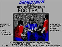 Title screen of GFL Championship Football on the Sinclair ZX Spectrum.