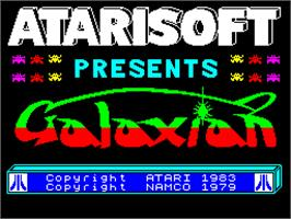Title screen of Galaxian on the Sinclair ZX Spectrum.
