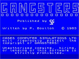 Title screen of Gangsters on the Sinclair ZX Spectrum.