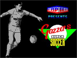 Title screen of Gazza's Super Soccer on the Sinclair ZX Spectrum.