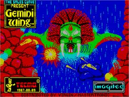 Title screen of Gemini Wing on the Sinclair ZX Spectrum.