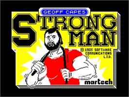 Title screen of Geoff Capes Strongman on the Sinclair ZX Spectrum.