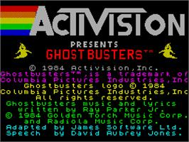 Title screen of Ghostbusters on the Sinclair ZX Spectrum.