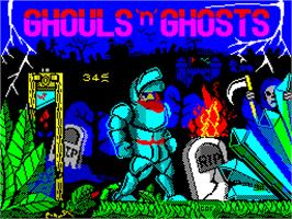 Title screen of Ghouls 'N Ghosts on the Sinclair ZX Spectrum.