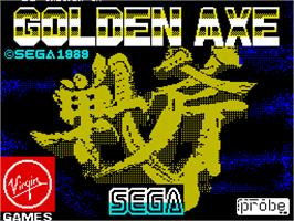 Title screen of Golden Axe on the Sinclair ZX Spectrum.