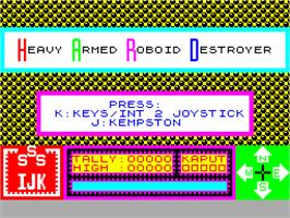 Title screen of H.A.R.D on the Sinclair ZX Spectrum.