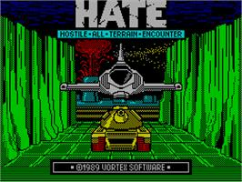 Title screen of H.A.T.E. on the Sinclair ZX Spectrum.