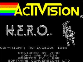 Title screen of H.E.R.O. on the Sinclair ZX Spectrum.
