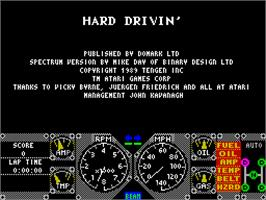 Title screen of Hard Drivin' on the Sinclair ZX Spectrum.