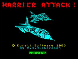 Title screen of Harrier Attack on the Sinclair ZX Spectrum.
