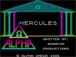 Title screen of Hercules: Slayer of the Damned on the Sinclair ZX Spectrum.
