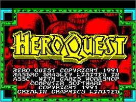 Title screen of Hero Quest: Return of the Witch Lord on the Sinclair ZX Spectrum.