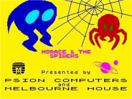 Title screen of Horace & The Spiders on the Sinclair ZX Spectrum.