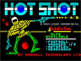 Title screen of Hotshot on the Sinclair ZX Spectrum.