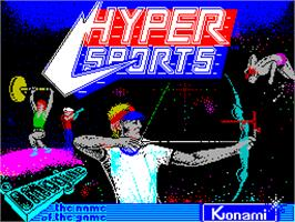 Title screen of Hyper Sports on the Sinclair ZX Spectrum.