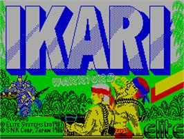 Title screen of Ikari Warriors II: Victory Road on the Sinclair ZX Spectrum.