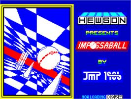 Title screen of Impossaball on the Sinclair ZX Spectrum.