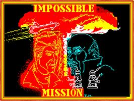 Title screen of Impossible Mission on the Sinclair ZX Spectrum.