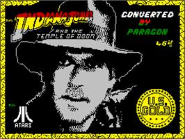 Title screen of Indiana Jones and the Temple of Doom on the Sinclair ZX Spectrum.