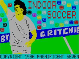 Title screen of Indoor Soccer on the Sinclair ZX Spectrum.