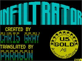 Title screen of Infiltrator on the Sinclair ZX Spectrum.