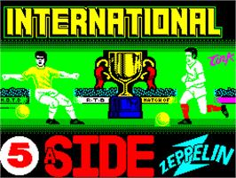 Title screen of International 5-A-Side on the Sinclair ZX Spectrum.