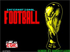 Title screen of International Football on the Sinclair ZX Spectrum.