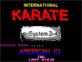 Title screen of International Karate on the Sinclair ZX Spectrum.