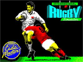 Title screen of International Rugby Simulator on the Sinclair ZX Spectrum.