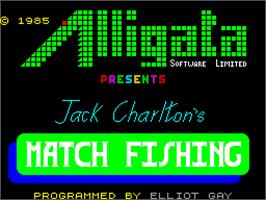 Title screen of Jack Charlton's Match Fishing on the Sinclair ZX Spectrum.