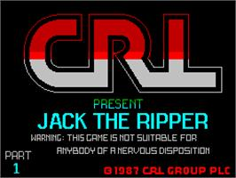 Title screen of Jack the Ripper on the Sinclair ZX Spectrum.