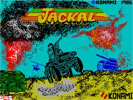 Title screen of Jackal on the Sinclair ZX Spectrum.