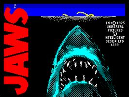 Title screen of Jaws: The Computer Game on the Sinclair ZX Spectrum.