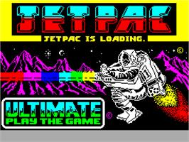 Title screen of Jetpac on the Sinclair ZX Spectrum.