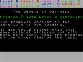 Title screen of Jewels of Darkness on the Sinclair ZX Spectrum.