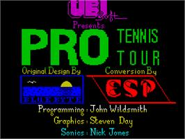 Title screen of Jimmy Connors Pro Tennis Tour on the Sinclair ZX Spectrum.
