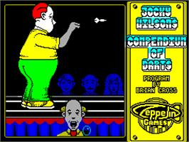 Title screen of Jocky Wilson's Compendium of Darts on the Sinclair ZX Spectrum.