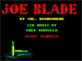 Title screen of Joe Blade on the Sinclair ZX Spectrum.