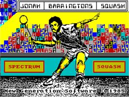 Title screen of Jonah Barrington's Squash on the Sinclair ZX Spectrum.