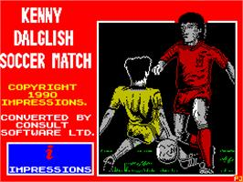 Title screen of Kenny Dalglish Soccer Match on the Sinclair ZX Spectrum.