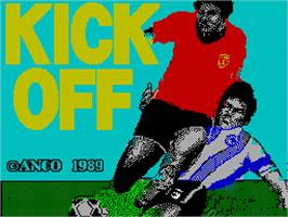 Title screen of Kick Off on the Sinclair ZX Spectrum.